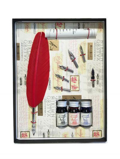 Schreibfeder m. 3 farb. Tintenflächchen rot