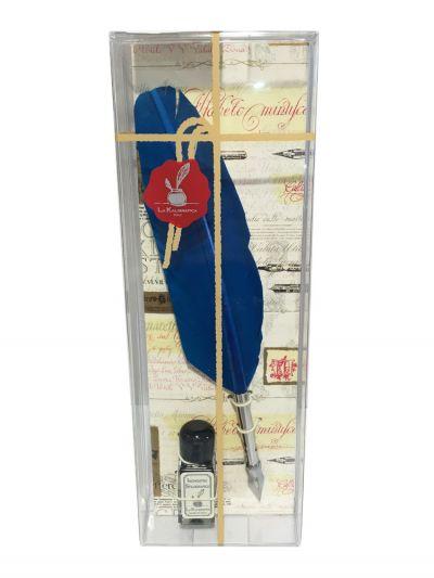 Schreibfeder m. Tintenfläschchen in Klarsichthülle türkis